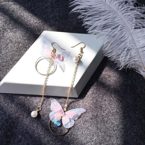 Korean Butterfly Wings Long Tassel Earrings - [variant_title] - The Kawaii Shoppu