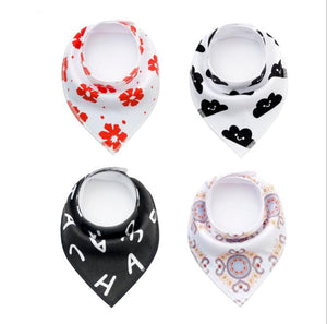 4pcs/lot Bibs Burp Cloth Print Arrow Wave Triangle Baby Bibs Cotton Bandana Accessories