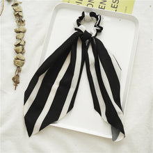 Load image into Gallery viewer, New Black And White Long Large Intestine Ring Hair Elastic