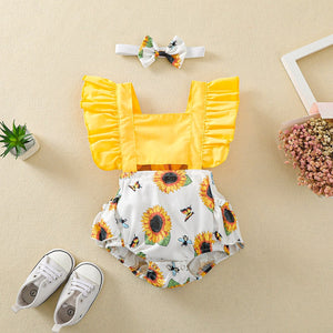 Girls Sling Sunflower Bee Lace Off-Waist Jumpsuit