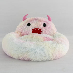 Cute Round Cat Bed Soft Long Plush Cartoon Animal Embroidery Nest Winter Warm Sleeping Mat