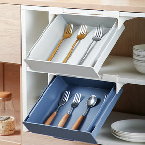 Kitchen Cabinet Divider Shelf Drawer Organizer Utensil Holder Under Desk Hanging Storage Box Fork Spoon Tray Kitchen Storage Box