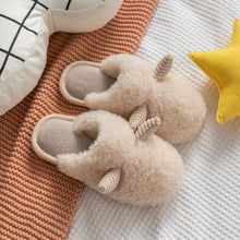Load image into Gallery viewer, Plush Slipper Female Winter Lovely Home Warm Cotton Slipper Indoor Couple Wool Cotton Slipper