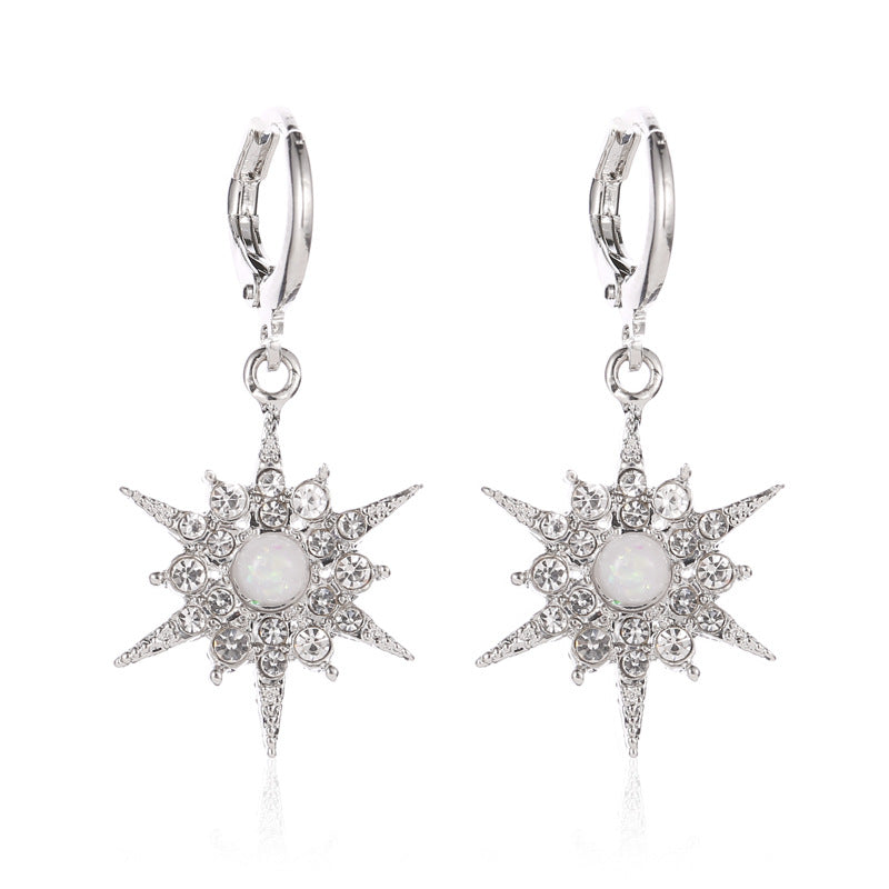 Female Zircon Sun Flower Earrings