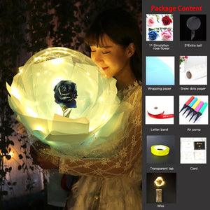 Valentine's Day Gift  LED Luminous Balloon Rose Bouquet Transparent Bobo Ball Rose