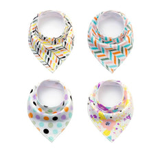 Load image into Gallery viewer, 4pcs/lot Bibs Burp Cloth Print Arrow Wave Triangle Baby Bibs Cotton Bandana Accessories