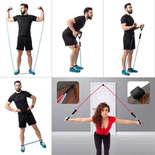 Load image into Gallery viewer, 22-Piece Workout Resistance Bands Set: 5 Stackable Exercise Bands, 5 Loop Resistance Bands, 2 Core Sliders, Door Anchor, Handles, Ankle Straps, Carry Bag, Cooling Towel