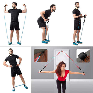 22-Piece Workout Resistance Bands Set: 5 Stackable Exercise Bands, 5 Loop Resistance Bands, 2 Core Sliders, Door Anchor, Handles, Ankle Straps, Carry Bag, Cooling Towel
