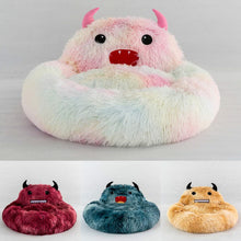 Load image into Gallery viewer, Cute Round Cat Bed Soft Long Plush Cartoon Animal Embroidery Nest Winter Warm Sleeping Mat
