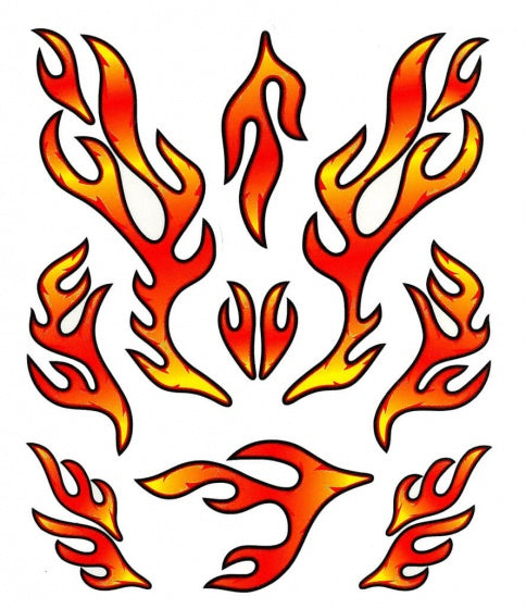 fietsstickers STK. Red Flames rood