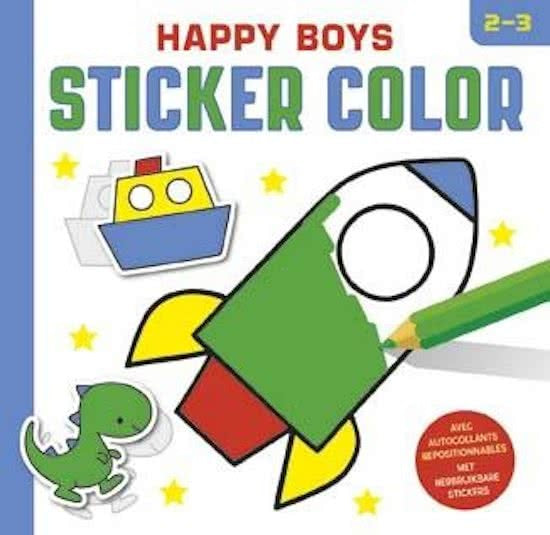 sticker- en kleurboek Happy boys 23 cm