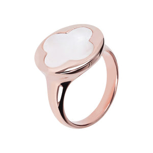 Four Leaf Clover Ring Natural Gemstone Rose Gold