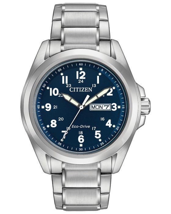 Citizen Gents Stainless steel Eco Drive with blue dial AW005058L