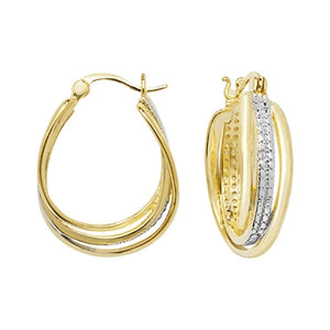 Yellow gold plated hoop earrings SE199C