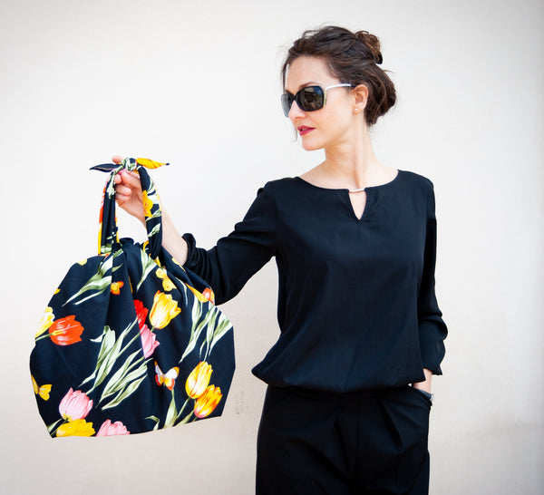 Sicilian Furoshiki Bag black poppies