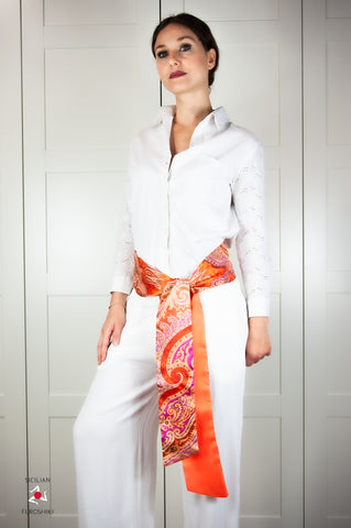 OBI belt Silk orange cashmere pattern