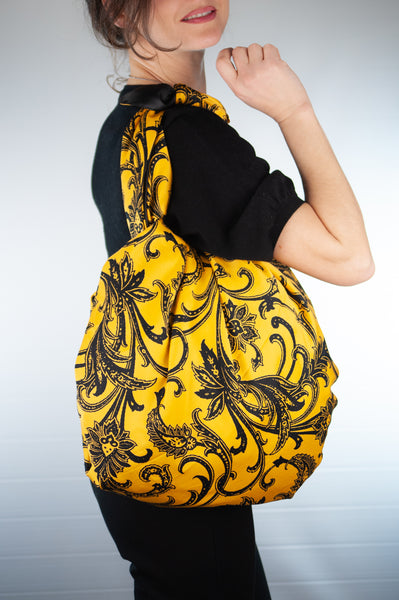 Sicilian Furoshiki Bag yellow/black floral