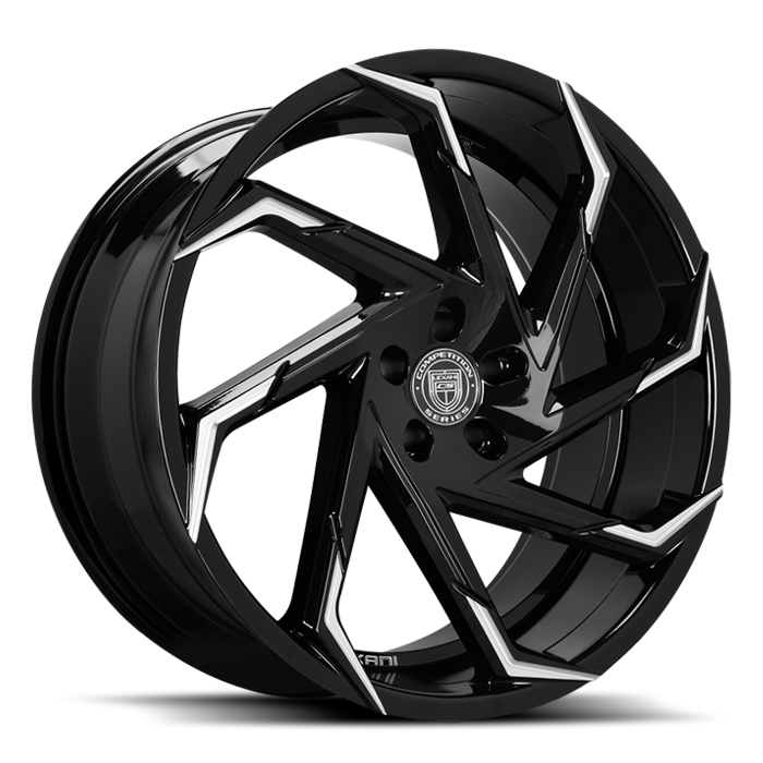 <b>Lexani</b> Cyclone [ Concave Sport ]  -<br> Black with Milled Accents