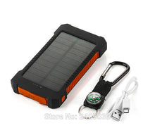 Load image into Gallery viewer, Solar 10000mAh Double USB Solar charger External Battery Portable Charger Bateria Externa Pack for phones with a Compass Hook