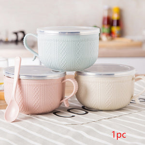 With Lid Household Utensils Tableware Lunch Box Large Capacity Noodles Rice Soup Cartoon Bowl Stainless Steel Anti-allergy