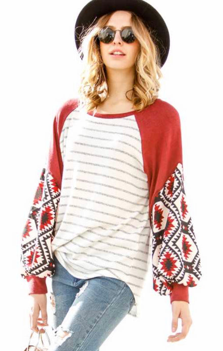 Rust Aztec Sleeve with Stripe