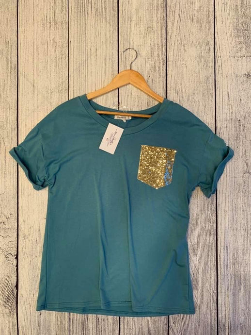 Teal tee with sequin pocket