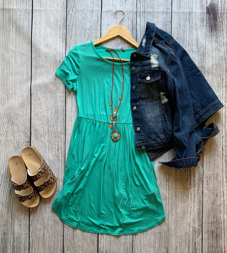 Teal dress with pockets
