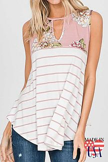 Floral Stripe Sleeveless Top
