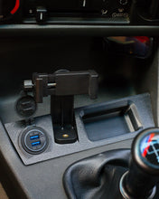 Load image into Gallery viewer, BMW E30 Center Console Phone Mount and Dual USB Charger (Universal Clamp)