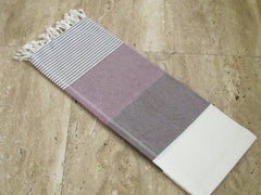 Pestemal Turkish Towel, 100% Cotton, White-Coffee-Purple, Beach & Bath Towel, Alina Mediterranean