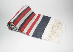 Pestemal Turkish Towel, 100% Cotton, Navy-White with Red accent, Beach & Bath Towel, Alina Allure