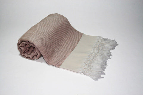 Pestemal Turkish Towel, 30% Cotton 70% Bamboo, Beige, Beach & Bath Towel, Alina Coral