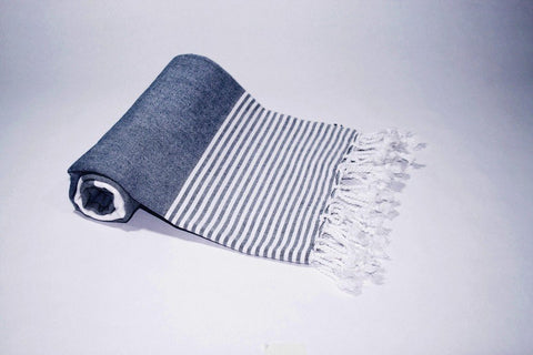 Pestemal Turkish Towel, 100% Cotton, Navy - White, Beach & Bath Towel, Alina Mediterranean