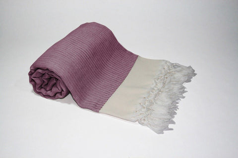 Pestemal Turkish Towel, 30% Cotton 70% Bamboo, Purple, Beach & Bath Towel, Alina Coral