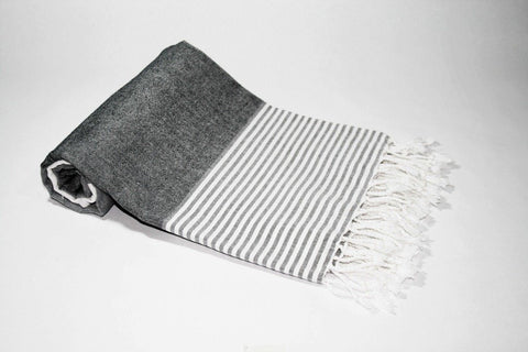 Pestemal Turkish Towel, 100% Cotton, White-Gray-DarkGray, Beach & Bath Towel, Alina Mediterranean