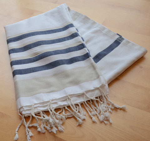 Pestemal Turkish Towel, 100% Cotton, Beige-White-Navy, Navy accent, Beach & Bath Towel, Alina Allure