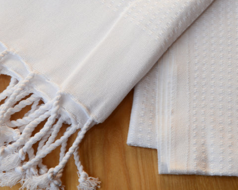 Pestemal Turkish Towel, 100% Cotton, White, Beach & Bath Towel, Alina