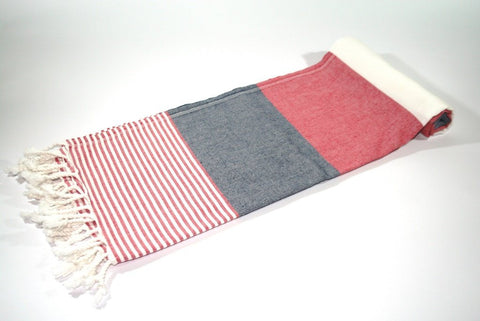 Pestemal Turkish Towel, 100% Cotton, Red - White, Beach & Bath Towel, Alina Mediterranean