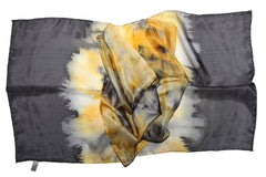 Artisan Hand Dyed Batik Silk Scarf (Black and Goldenrod Yellow)