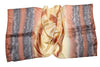 Artisan Hand Dyed Batik Silk Scarf (Brown And Gold)