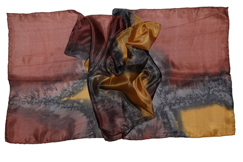 Artisan Hand Dyed Batik Silk Scarf (Burgundy Brown and Earth Yellow)