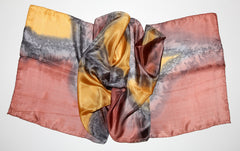 Artisan Hand Dyed Batik Silk Scarf (Burnt Umber Brown And Gold)