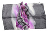 Artisan Hand Dyed Batik Silk Scarf (Dark Gray and Fuchsia Violet)