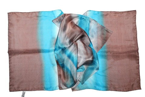 Artisan Hand Dyed Batik Silk Scarf (Turquoise and Raw Umber Brown)