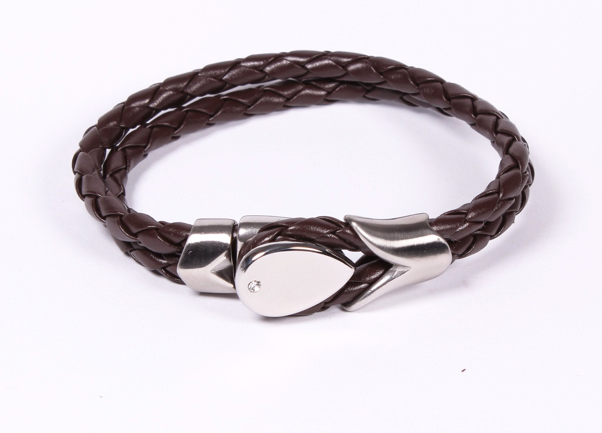 Espresso Brown Leather and Stainless Steel Bracelet Modern Look