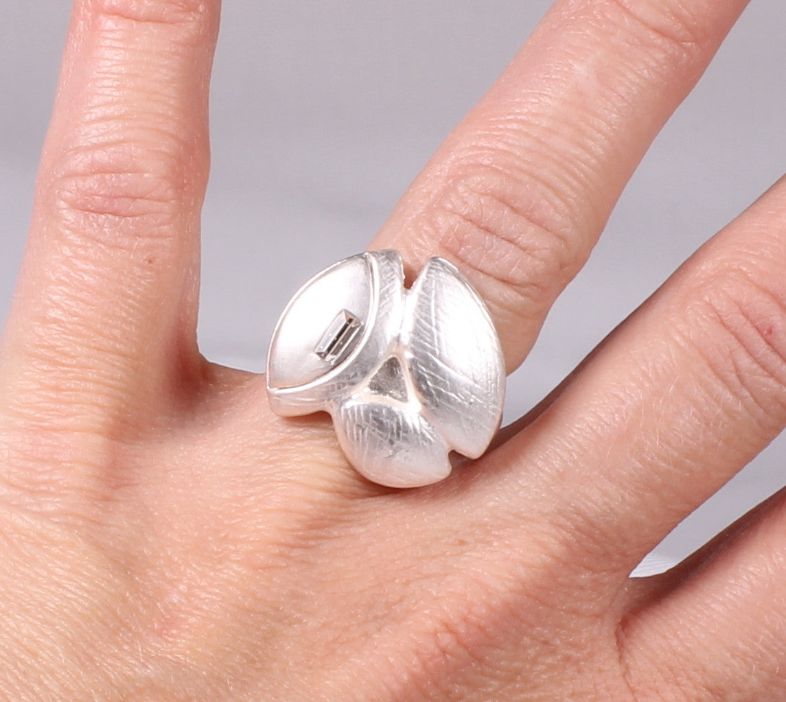Brushed Silver Rhinestone Ring