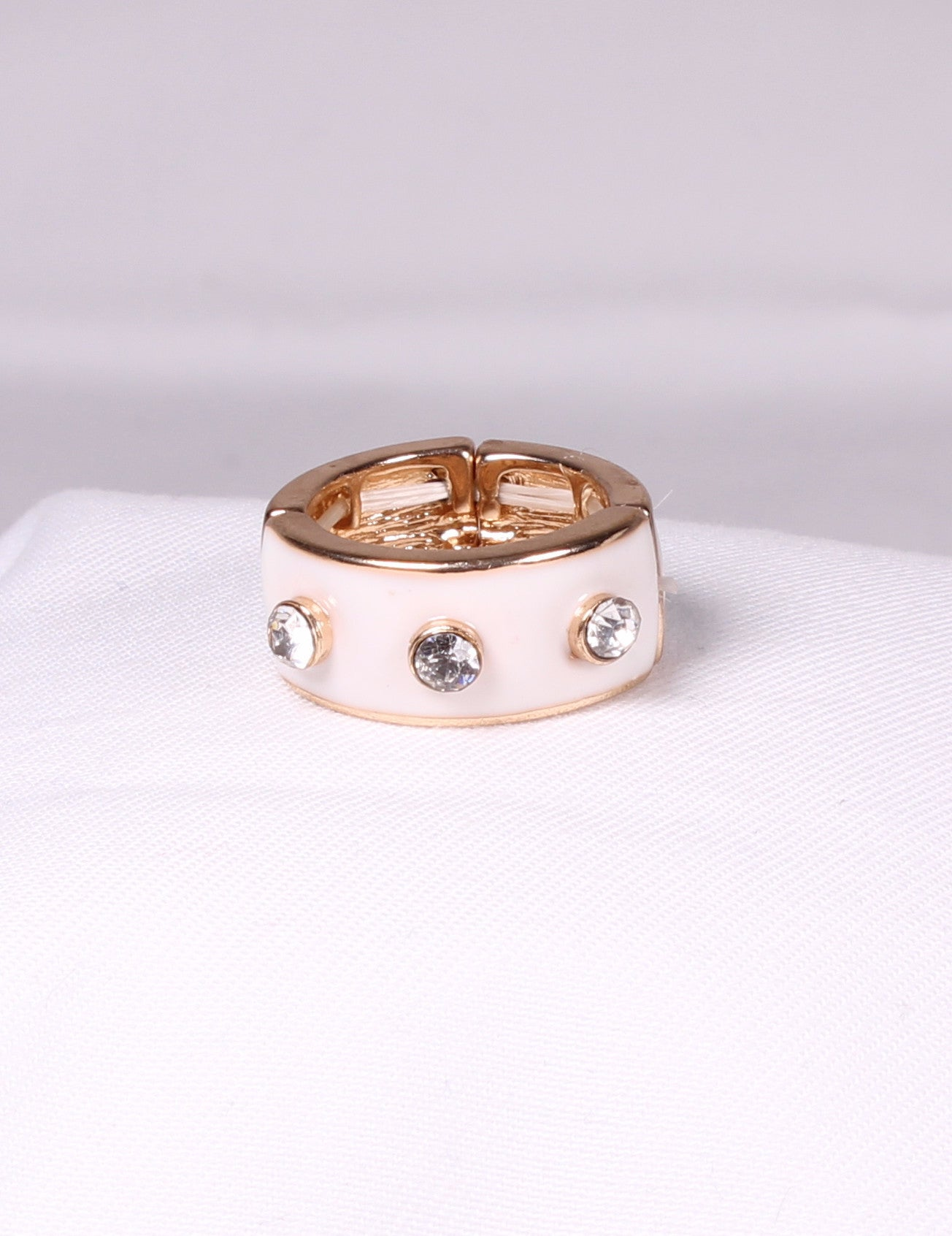 White Enamel and Rhinestone Ring