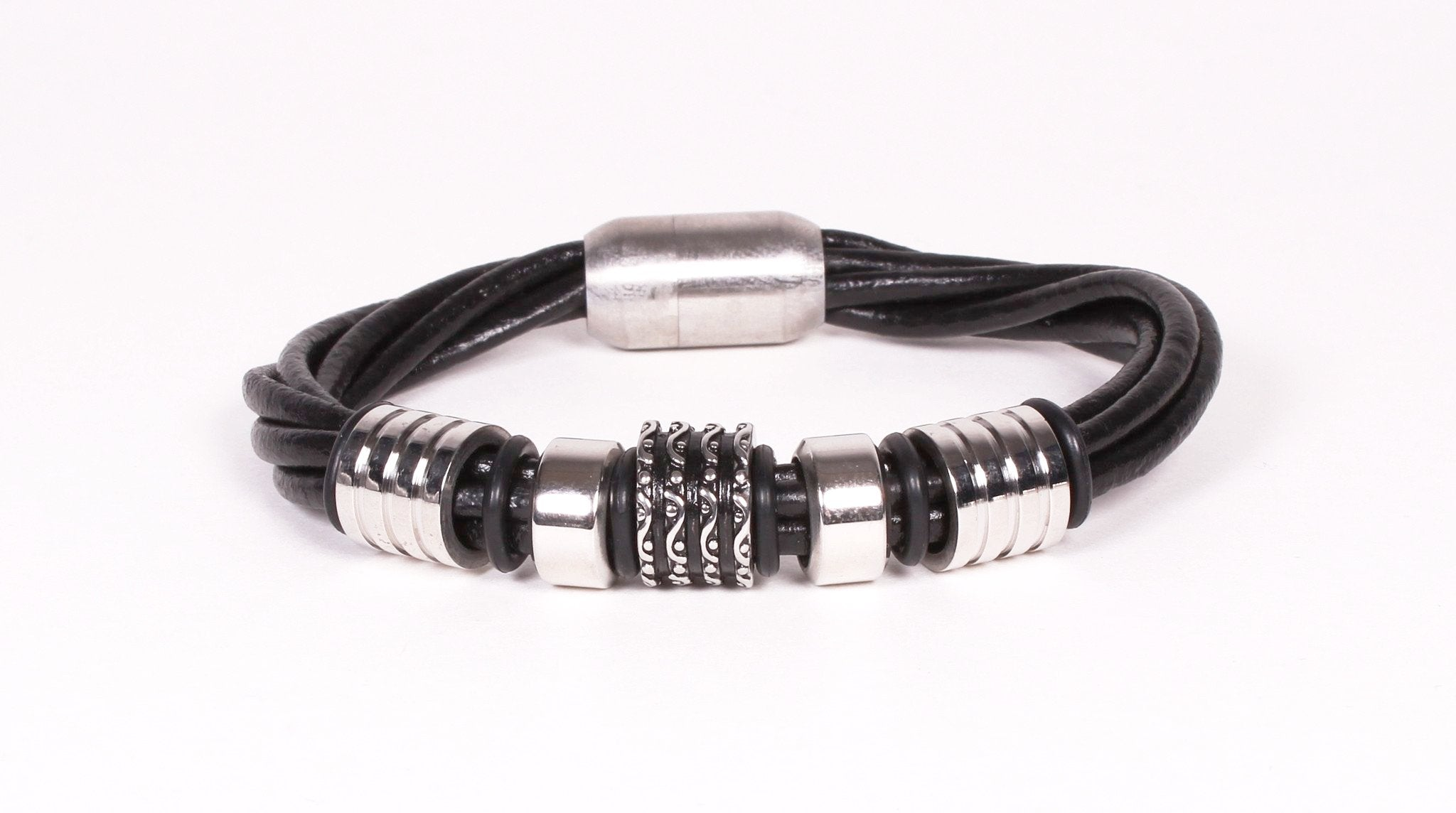 Black Leather and Stainless Steel Ring Bracelet