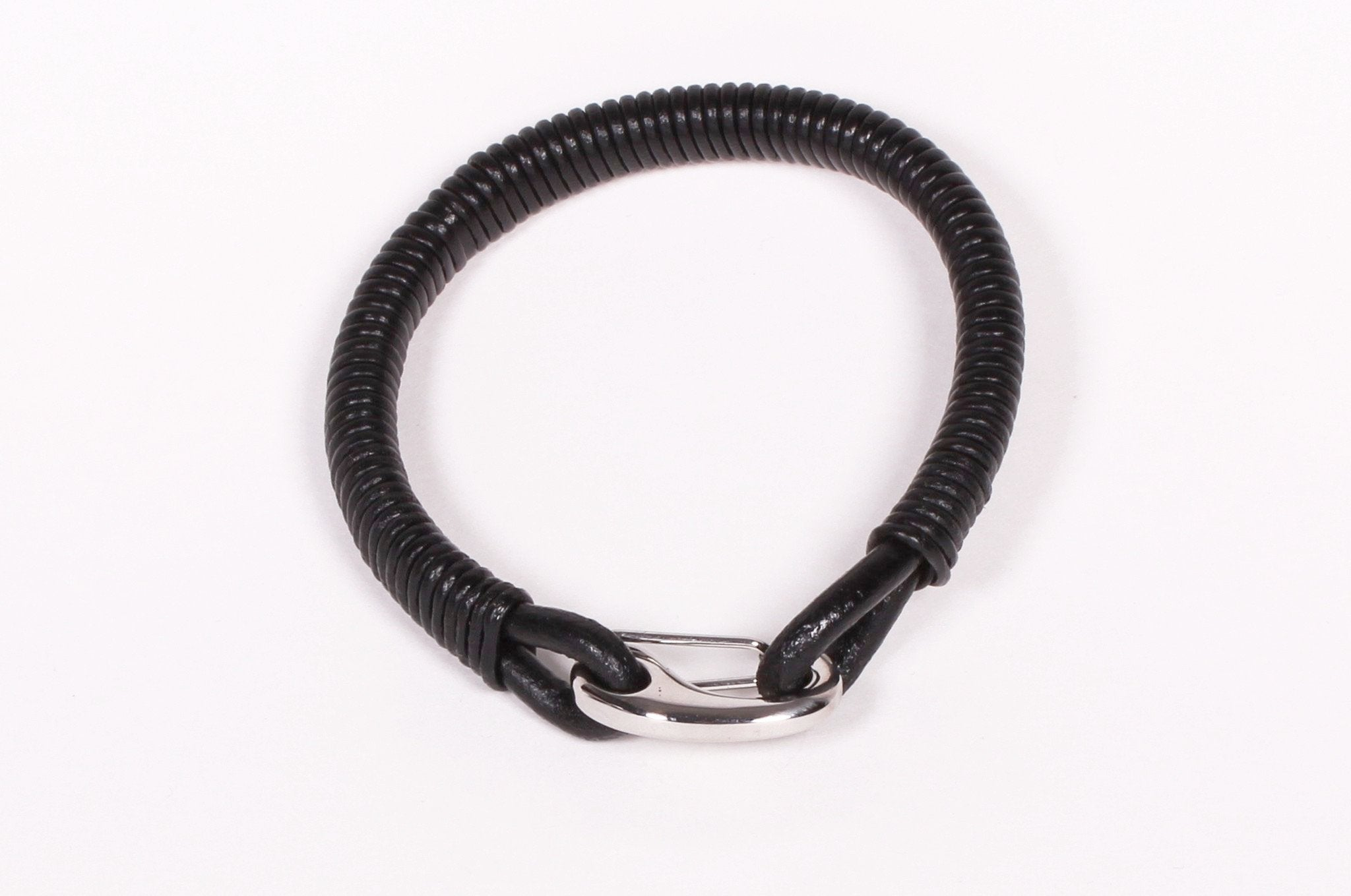 Black Leather and Stainless Steel Clip Bracelet