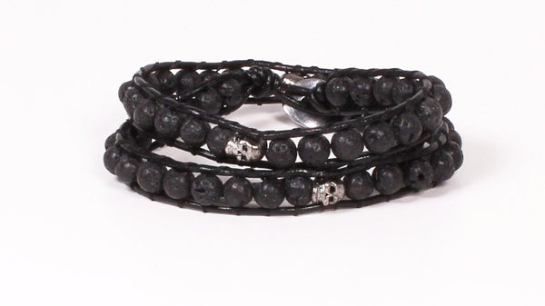 Black Lava Skull Double Wrap Bracelet